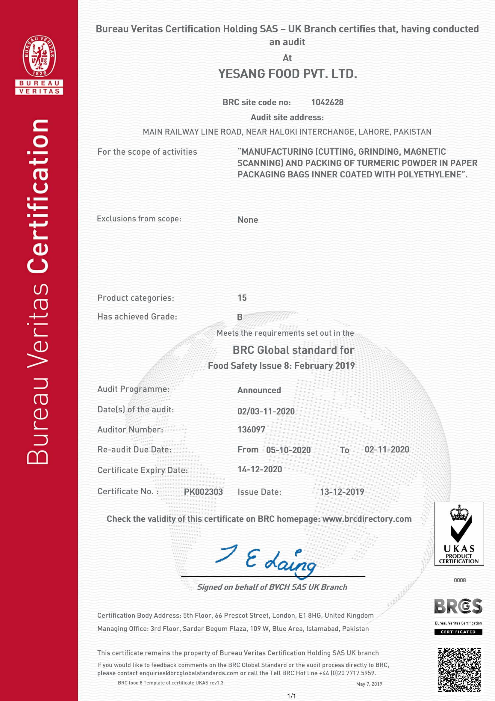 Test Result Certificate - Yesang Food Korea