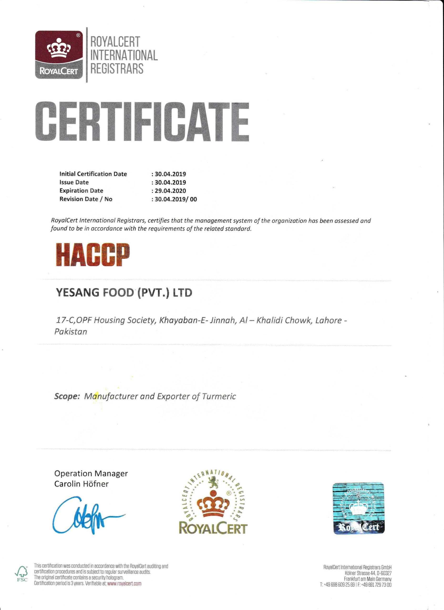 HACCP Certification - Yesang Food Korea