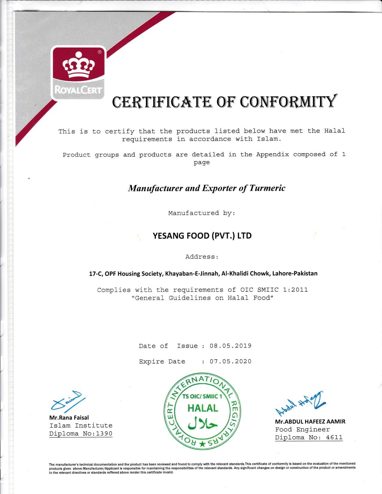 Halal Certification - Yesang Food Korea